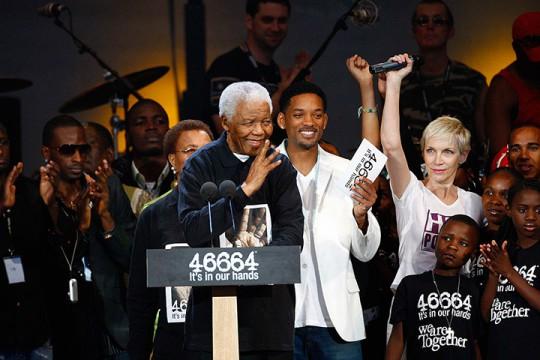 2008: Mandela speaks at a concert held in his honour in London