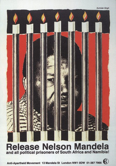 A Release Nelson Mandela poster from The Anti Apartheid Movement