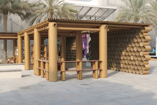 Shigeru-Ban-Cardboard-Pavilion-Abu-Dhabi-Art-Design-Souq-1-537x358