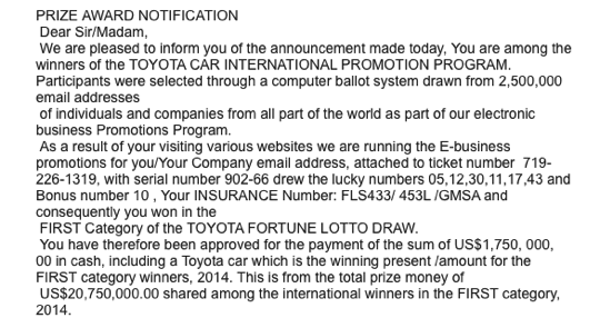 Scam toyota prize award notification01