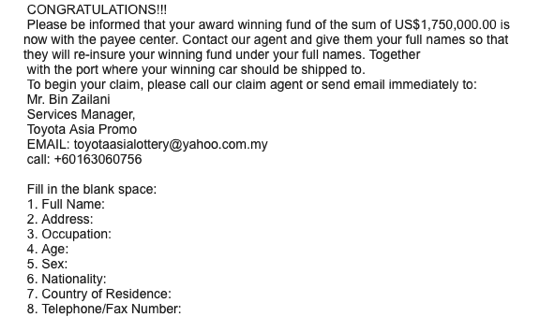 Scam toyota prize award notification02